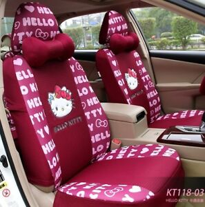 15 Piece Red Hello Kitty Full Print Car Seat Covers