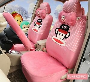 18 Piece Warm Pink Polka Dot Paul Frank Monkey Car Seat Covers Tl a15