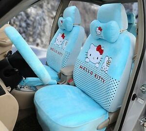 17 Piece Super Soft Sky Blue Hello Kitty And Bunny Car Seat Covers