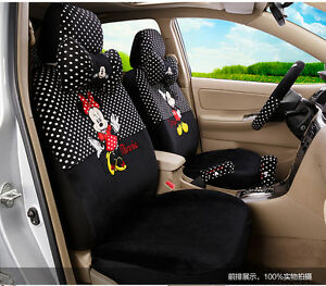 18 Piece Black white Polka Dot Mickey And Minnie Car Seat Covers