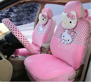 18 Piece Baby Pink Polka Dot Hello Kitty Car Seat Covers