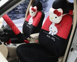 18 Piece Black And Red Polka Dot Hello Kitty Car Seat Covers
