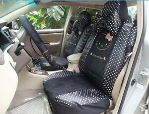 18 Piece Black Polka Dot Hello Kitty Car Seat Covers