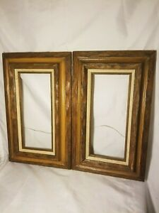Pair Vintage Carved Wood Picture Frames Mexico 12 5x20 Outside W 6x13 5 Inside