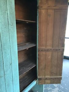 Rustic Primitive Jelly Cupboard Cabinet Shabby Chic Green Wood