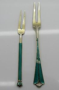 David Andersen Norway Sterling Silver Green Enamel 2 Tine Gold Washed Forks