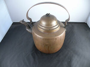 Antique Swedish Copper Tea Kettle Great Patina Old Hand Made 7 25 High