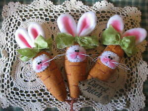 Primitive Easter Carrot Bunnies Bowl Fillers Ornaments Dolls Shelf Sitters