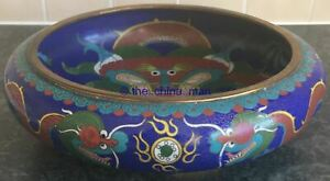 11 Signed Antique Quality Chinese Cloisonne Dragon Flaming Pearl Fire Bowl