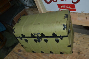 Antique Steamer Trunk Railroad Chest Vtg Flat Top Coffee Table