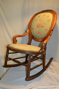 Antique Wood Victorian Sewing Rocker Needle Point Tapestry