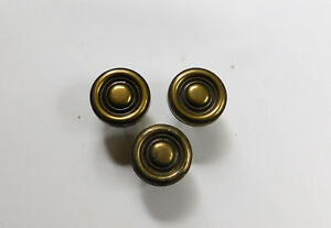 3 Vintage Antiqued Brass Cabinet Drawer Handles Round Knobs 1 3 8
