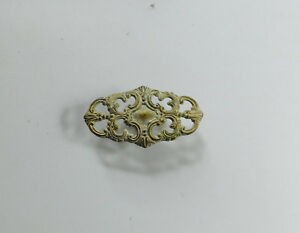Vintage White Brass Cabinet Drawer Handles Knob French Ornate Pierced