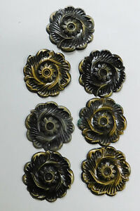 7 Vintage Antiqued Brass Cabinet Drawer Handles Ornate Rosette Back Plate 2 3 8