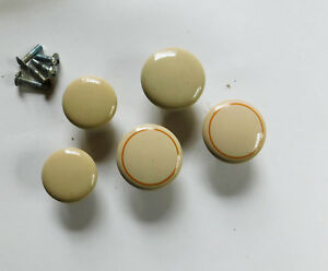 5 Vintage Cream Ceramic Porcelain Cabinet Drawer Handles Round Knobs Lot
