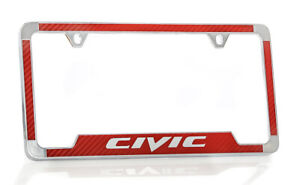 Honda Civic Red Simulated Carbon Fiber License Plate Frame Holder