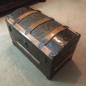 Smaller 1800 S Antique Stagecoach Arch Top Camel Back Hump Back Steamer Trunk