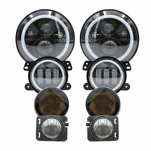 7 Led Headlight 4 Fog Light turn Signal fender Lamp For Jeep Wrangler 07 18 Jk