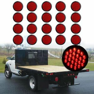 20pcs 4 24 Led Side Marker Tail Lights Trailer Universal Lamps Round Red 24v