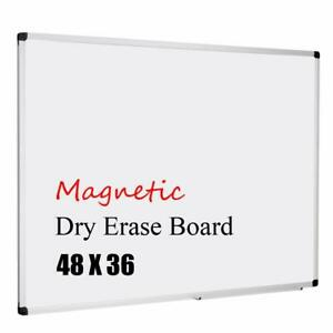 Magnetic White Board 48x36 inch Dry Erase Aluminum Framed Whiteboard With Tray