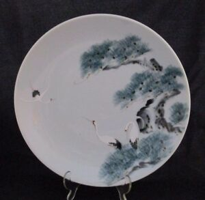 Antique Japanese Celadon Hand Painted Cranes Charger Plate 12 5