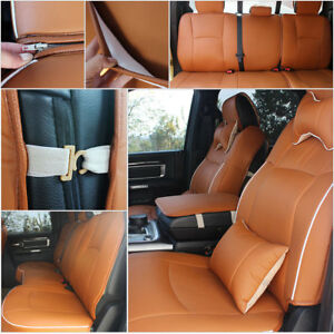 Brown Pu Leather Seat Cover For 2009 2018 Dodge Ram 1500 2500 3500 W armrest Set