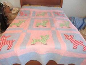 Vintage Large Pink Blue Baby Quilt Embroidered Lambs Donkeys Adorable