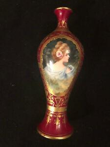 Antique Royal Bonn Hand Painted Portrait Gilded Vase