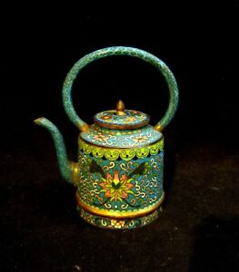 Antique Cloisonne Mini Tea Kettle Chinese 1910 Era