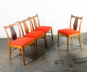 Mid Century Modern Dining Chairs Set 4 Rosewood Bf Huntsley Orange Vintage Side