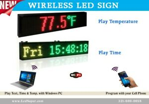 Led Sign 7 Colors Programmable Digital Message Sign Play Time Temp 15 X 40