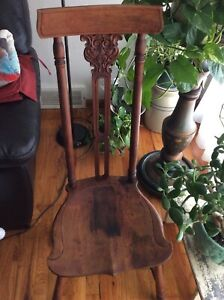 Antique North Wind High Back Chair 1900s Wooden Accent Chair North Wind Face