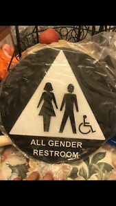 Ada Compliant All Gender Restroom Sign Set acrylic Sign 8 x8 12 Round triangle