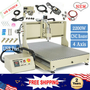 Usb 4 Axis Cnc 6090 Router Engraver Machine 2200w Vfd Mill Metalwork 3d Cutter