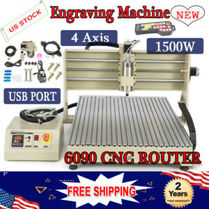 1500w 4 Axis Usb Cnc 6090 Router Engraver Machine Mill Drill Carving Cutter Rc