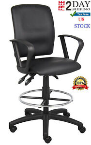 Drafting Stools Adjustable Height With Arm And Backrest Heavy Duty Leather Chair