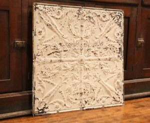 Antique Metal Tin Ceiling Tile 24 X24 Shabby Chic Gothic Torch Reclaim Salvage