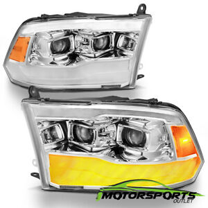 For 2009 2018 Dodge Ram Chrome Led Drl Dual Projector Headlights Left right Pair