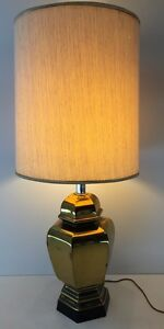 Vintage Mid Century Modern Solid Brass Table Lamp Tommi Parzinger Rare Hexagon
