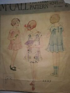 Antique Sewing Pattern Young Girls Dress 4245