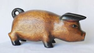 Antique 19th Century American Carved Wood Folk Art Painted Pig Primitive