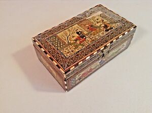 Rare Antique Micro Msaic Persian Marquetry Inlay Hinged Box Khatam Kari