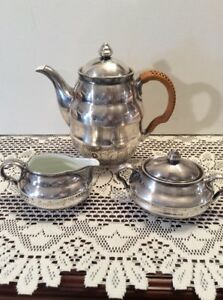 Wmf Germany Silver On Brass With Porcelain Tea Set Coffee Pot Sugar Creamer