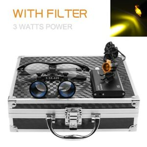 Dental 3w Led Headlight With Filter 3 5x Binocuar Loupes With Aluminum Box Black