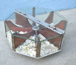 Antique Vtg Store Display Case Original Rotating Glass Nickel Wood Charms