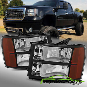 2007 2013 Gmc Sierra 1500 2500 3500 Black Headlights 2008 2009 2010 2011 2012