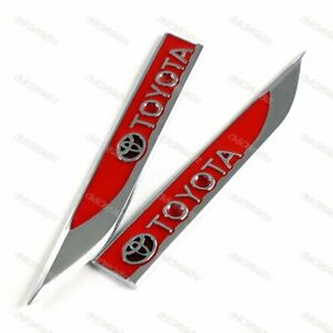 2x Red Metal Emblem Car Trunk Side Wing Fender Decal Badge Sticker For Toyota