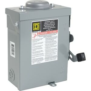Square D 30a 240vac v General Duty Safety Switch Rainproof Du221rbup 3r No tax