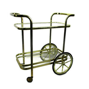 Bar Tea Cart Trolley Cocktail Kitchen Island Clear Glass Chrome Brass 70s