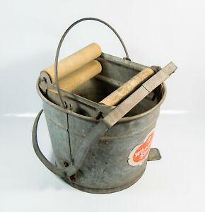 Vtg Wheeling Steel Galvanized Metal Steel Foot Operated Mop Cleaning Bucket